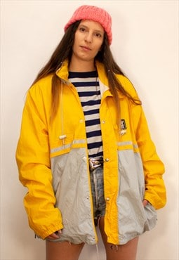 Vintage Yellow And Grey K-Way 2000 Waterproof Jacket