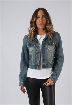 Denim Jacket Fitted OLD NAVY Vintage Cropped UK 10 (DK4W)