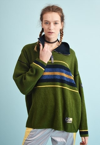 90'S RETRO OVERSIZED STRIPED ATHLEISURE DADS KNIT JUMPER