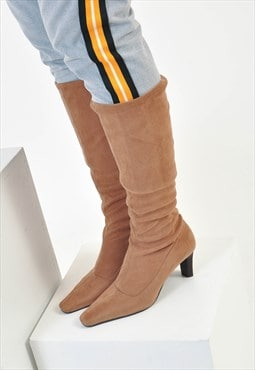 Vintage suede leather mid heeled boots