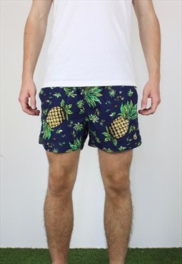 Vintage Alcott Tropical Swim Shorts in Blue with Pineapple