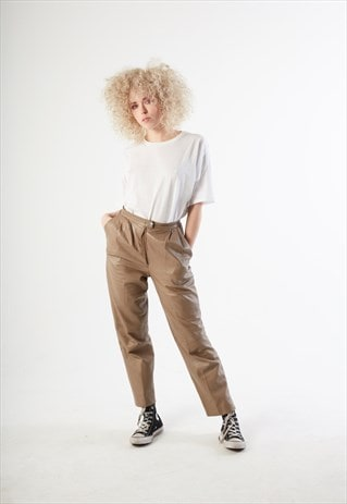 90S VINTAGE BEIGE LEATHER PANTS