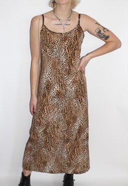 Vintage Leopard Print Slip Long Dress