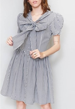 VINTAGE 1990'S CUSTOMISED MONOCHROME GINGHAM PUSSY BOW MINI