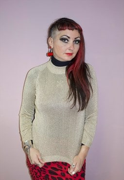 80's Vintage gold polyester knitted jumper