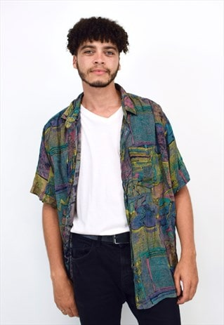 VINTAGE 90S DARK GREEN ABSTRACT PRINT SHIRT