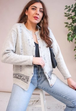 Vintage 80s Embroidered Cardigan in Grey