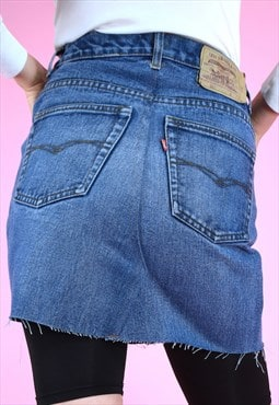 Vintage rework skirt 90s levi's denim mini dark blue