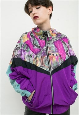 Vintage Jacket Multicolored Purple Pattern 90s Unisex Shell