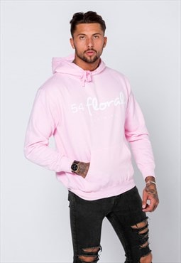 54 Floral Large Graphic Hoody - Light Baby Pink