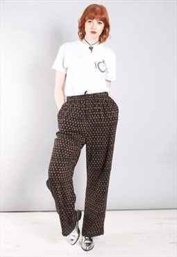 Vintage 80s Straight Leg Trousers in Geometric Print
