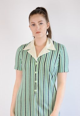 Womens Vintage 70s dress green stripy pointy collar