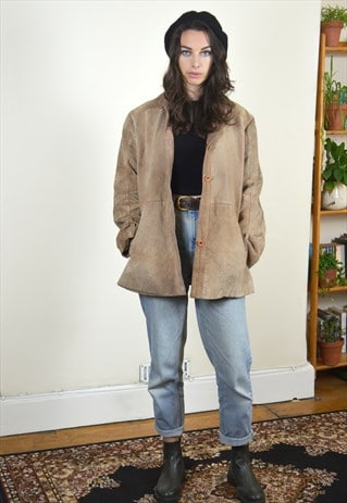 90's Vintage Light Brown Suede Leather Jacket