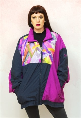 1980S VINTAGE RARE PURPLE ABSTRACT PRINT SHELL TRACK JACKET