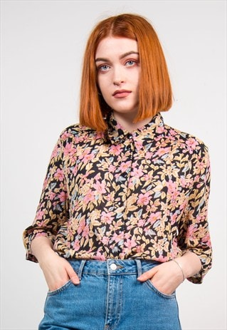 VINTAGE 90'S FLORAL PATTERN SHORT SLEEVE BLOUSE
