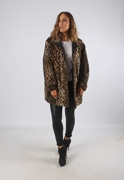 Vintage Faux Fur Coat Jacket Leopard Print UK L 14 (9BE)