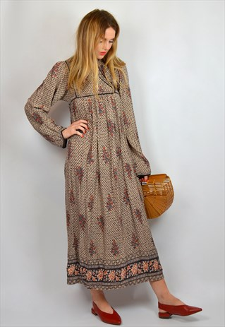 VINTAGE 70S BROWN HIPPY PEASANT MAXI DRESS