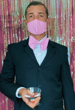 Pastel pink face covering set with clip on bow tie