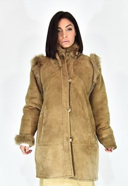 Shearling casual style beige coat