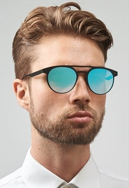 Logan Stainless Steel Blue Mirrored Mens Sunglasses