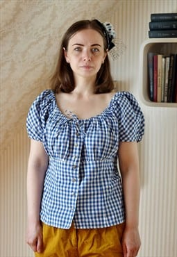 Blue and white checked blouse top