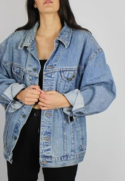 Vintage Lee Oversized Denim Jacket w Logo Front