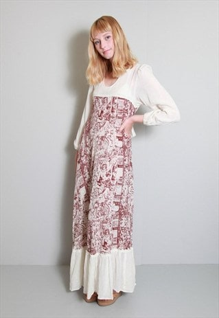VINTAGE 1970'S AMAZING CREAM AND RED BOHO STYLE MAXI DRESS