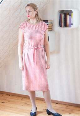 Red and white striped belted dress