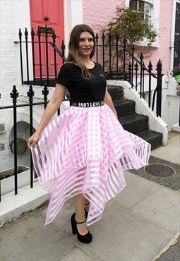 Pink Stripes Organza Skirt with Elastic Band
