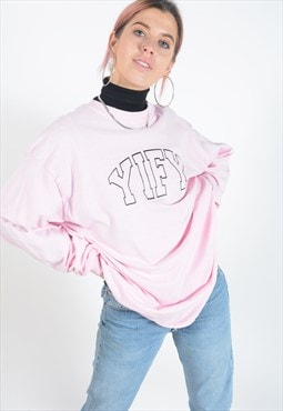 Long sleeved t-shirt in pink with spell out logo.