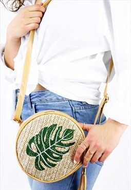 Palm Woven Crossbody Tassel Round Bag