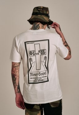 Short Sleeved T-Shirt in White With Money Gospel Print