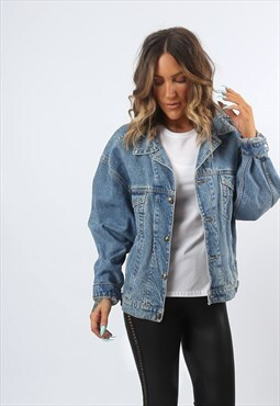 Denim Jacket Vintage Oversized Fitted UK 18 (A81Q)