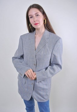 80s gray plaid oversize suit blazer, Size XL