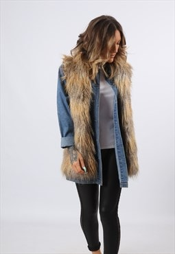 Faux Fur Gilet Waistcoat Jacket Long UK 8 - 10 (98CG)