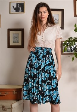 Vintage 80s Floral Elasticated Waist Midi Skirt in Blue