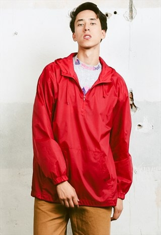 VINTAGE 80S RED HOODED RAIN JACKET