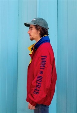 Vintage 90s Tommy Hilfiger spellout windbreaker jacket red