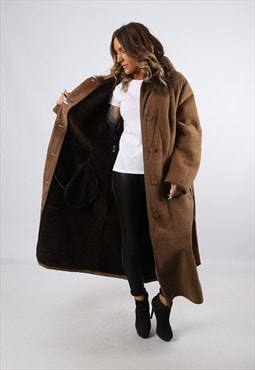 Sheepskin Suede Leather Shearling Long Coat UK 18 (LH4P)