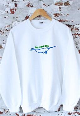 Sea Unicorn print White Sweatshirt