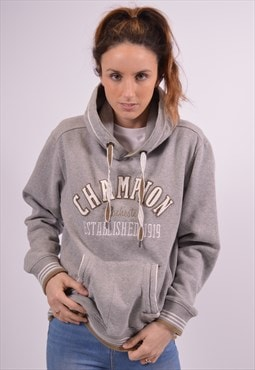 Champion Womens Vintage Hoodie Jumper Medium Grey 90s