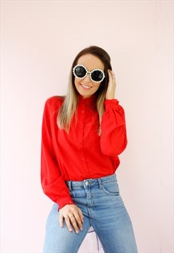Vintage 80's Red Frill Collar Shirt Blouse