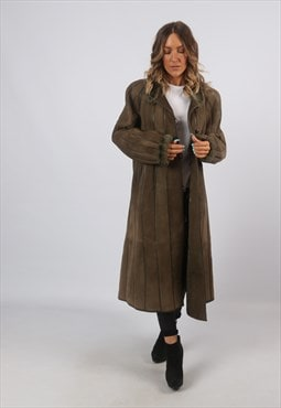 Sheepskin Suede Shearling Long Coat Jacket UK 16 (A8BH)