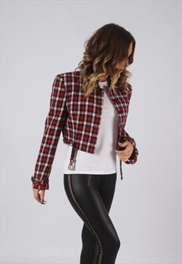 Cropped Wool Checked Jacket Patterned UK 8 (HW4L)