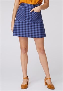 Princess Highway Blue Check Mini Skirt