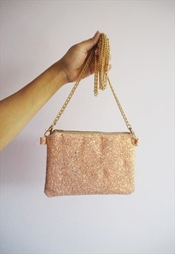 Glitter Crossbody Bag in Bubblegum Pink