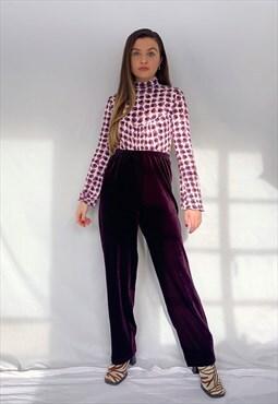 True Vintage 90s Purple Velvet Velour High Waisted Trousers