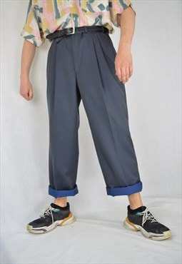 Vintage dark blue classic suit straight trousers
