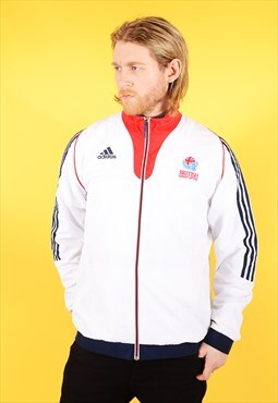Vintage Adidas Track Jacket Weightlifting White