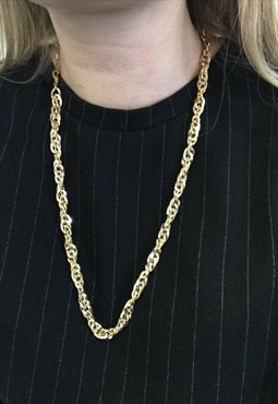 1990s Gold Plated Braided Necklace